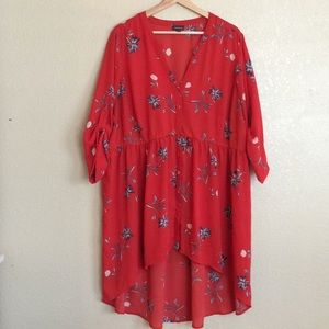 Torrid 3 high low babydoll floral tunic red